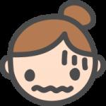 [女性の顔]恐怖・不安・失敗の表情のかわいい手書き風イラストアイコン