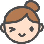 [女性の顔]ウインク・OKの表情のかわいい手書き風イラストアイコン