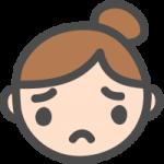 [女性の顔]悩み・困惑・困った表情のかわいい手書き風イラストアイコン