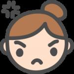 [女性の顔]怒り・怒った表情のかわいい手書き風イラストアイコン