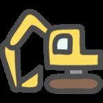 ショベルカー(ユンボ)の手書き風イラストアイコン