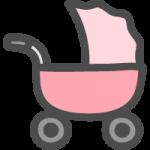ベビーカー(乳母車)のかわいい手書き風イラストアイコン