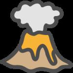 噴火した火山のかわいい手書き風イラストアイコン