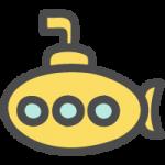 潜水艦の手書き風イラストアイコン