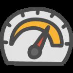 車のスピードメーターの手書き風イラストアイコン
