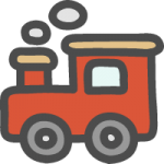蒸気機関車(汽車ポッポ)の可愛い手書き風イラストアイコン