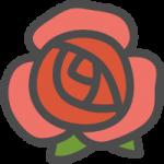 薔薇(バラ)の花のかわいい手書き風イラストアイコン