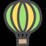 熱気球の手書き風イラストアイコン