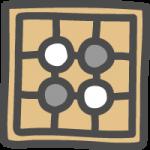 囲碁(碁盤と碁石)のかわいい手書き風イラストアイコン