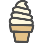 ソフトクリームの可愛いイラストアイコン