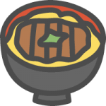 カツ丼のイラストアイコン