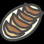焼き餃子(ぎょうざ)の可愛いイラストアイコン