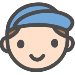 帽子をかぶったかわいい小学生の男の子の手書き風イラストアイコン