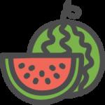 西瓜(すいか)の可愛いアイコンイラスト