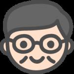 メガネを掛けたおじさん(中年男性)の手書き風イラストアイコン