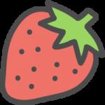 苺(いちご・ストロベリー)の可愛いアイコンイラスト