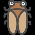 蝉(アブラゼミ)のかわいいアイコンイラスト