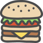 ハンバーガーの可愛いイラストアイコン