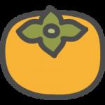 柿(カキ)の可愛いアイコンイラスト