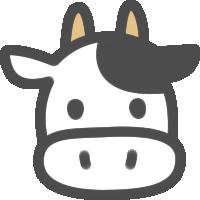 かわいい牛(うし)のアイコンイラスト素材