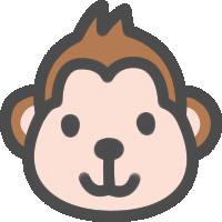 かわいい猿(さる)のアイコンイラスト