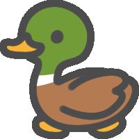 かわいい鴨(かも)のアイコンイラスト