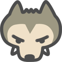 狼おおかみのアイコンイラスト 可愛い絵文字アイコンイラスト