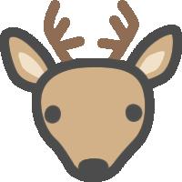 かわいい鹿(しか)のアイコンイラスト