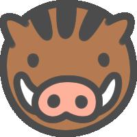 かわいい猪(いのしし)のアイコンイラスト