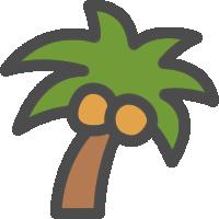 椰子やしの木のアイコンイラスト 可愛い絵文字アイコンイラスト