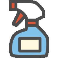 スプレー式洗剤ボトルのアイコンイラスト