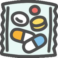 一包化された薬のアイコンイラスト